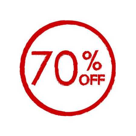 70% off. Sale and discount price icon. Sales tag design template. Vector illustration.