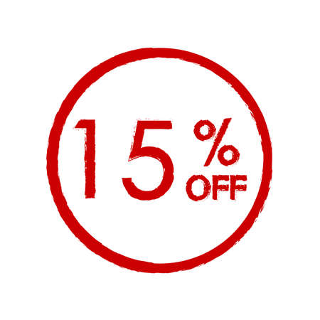 15% off. Sale and discount price icon. Sales tag design template. Vector illustration.