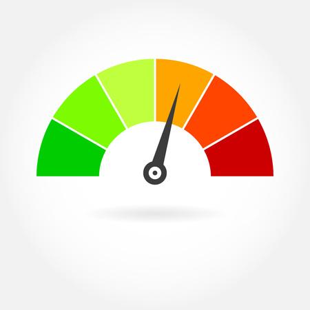 Speedometer icon. Meter or gauge design element. Colorful vector illustration.