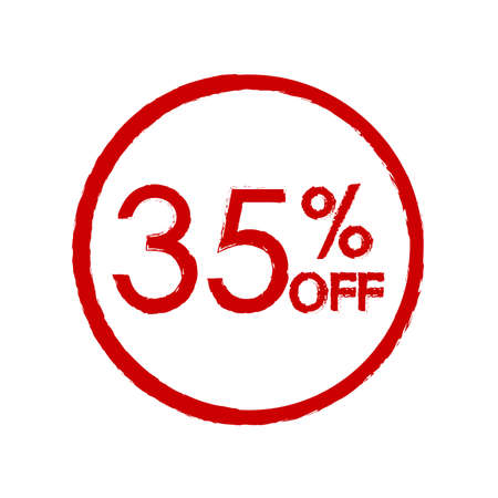 35% off. Sale and discount price icon. Sales tag design template. Vector illustration.