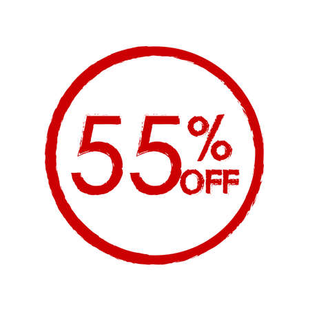 55% off. Sale and discount price icon. Sales tag design template. Vector illustration.