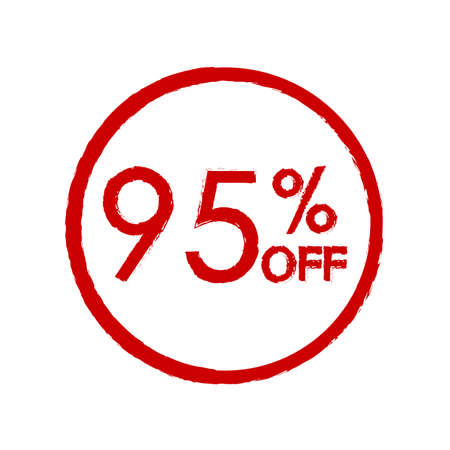 95% off. Sale and discount price icon. Sales tag design template. Vector illustration. 向量圖像