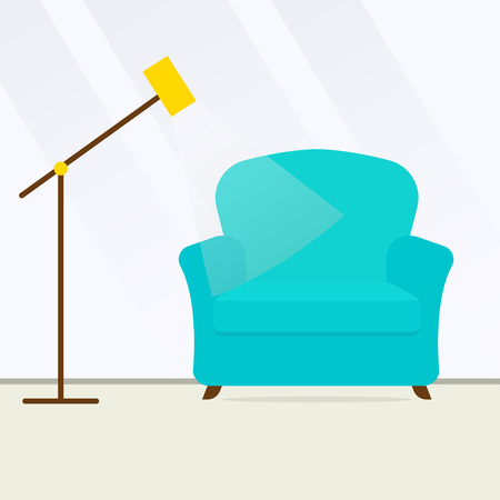 Armchair and modern floor lamp. Interior or Room design template in flat style. Vector illustration.