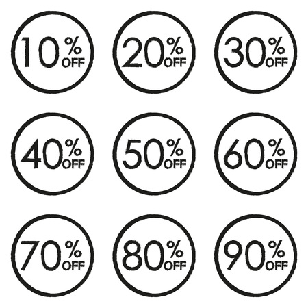 Sale and discount tag set. 10,20,30,40,50,60,70,80,90 percent price off. Vector illustration.  イラスト・ベクター素材