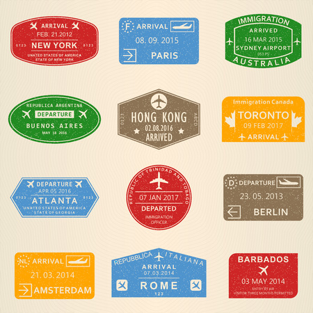Visa stamp set. Passport travel stamps with New York, Amsterdam, Toronto, Sydney, Paris, Berlin, Hong Kong and Rome airports. Vector illustration.