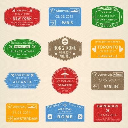 Visa-Stempelset. Reisepassstempel mit den Flughäfen New York, Amsterdam, Toronto, Sydney, Paris, Berlin, Hongkong und Rom. Vektor-Illustration.