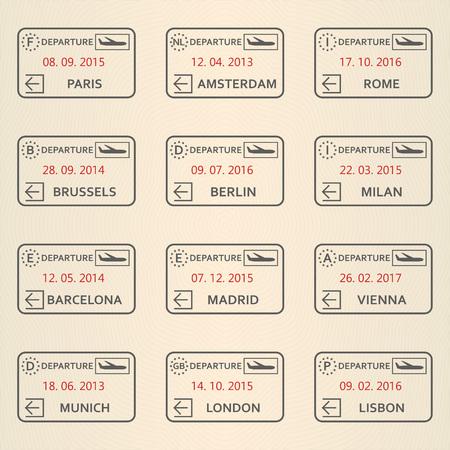 Visa stamp set. Departure passport stamps collection. Travel design elements. Vector illustration.