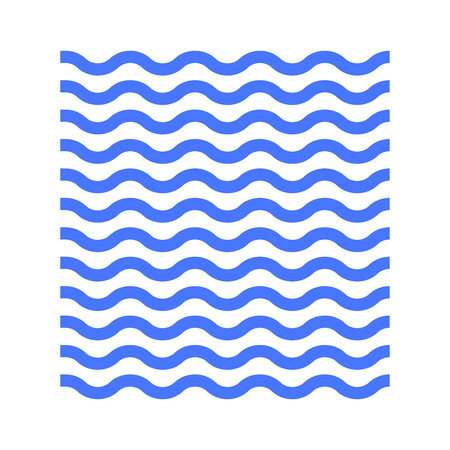 Water or waves icon. Blue wavy lines. Vector illustration.