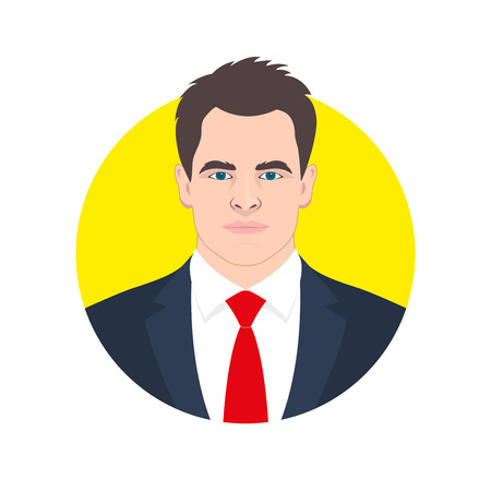 Male face avatar. Man in the suit, shirt and necktie. Businessman icon. Vector illustration. Illustration