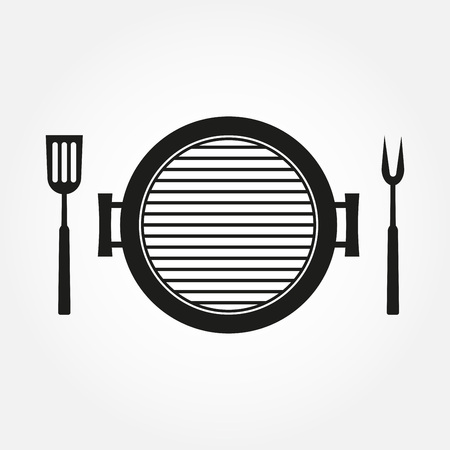 BBQ and Grill icon with oven, barbecue fork and spatula. Vector illustration.