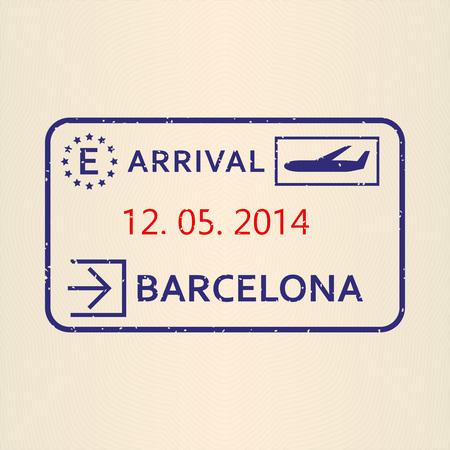 Sello del pasaporte de Barcelona. Viajar con visa de avión o sello de inmigración. Ilustración de vector.
