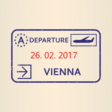 Vienna passport stamp. Travel by plane visa or immigration stamp. Vector illustration.