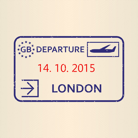 London passport stamp. Travel by plane visa or immigration stamp. Vector illustration. 矢量图像