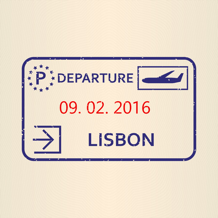 Lisbon passport stamp. Travel by plane visa or immigration stamp. Vector illustration.