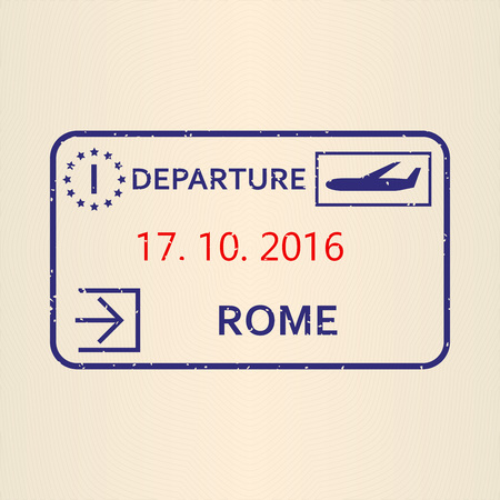 Rome passport stamp. Travel by plane visa or immigration stamp. Vector illustration.