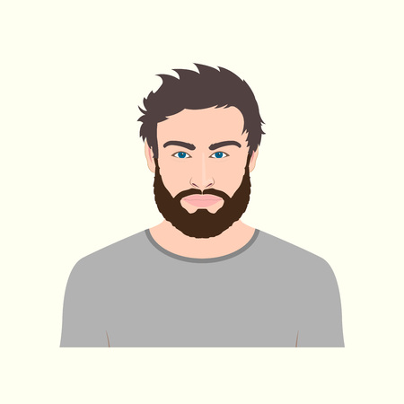 Man portrait with beard. Vector illustration of male character.