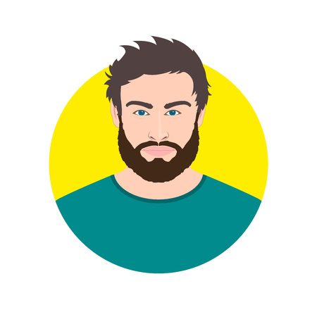 Man face avatar with beard. Male portrait. Vector illustration.