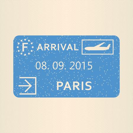 Paris passport stamp. Travel by plane visa or immigration stamp. Vector illustration. Illustration