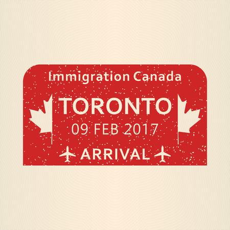 Toronto passport stamp. Travel by plane visa or immigration stamp. Vector illustration.