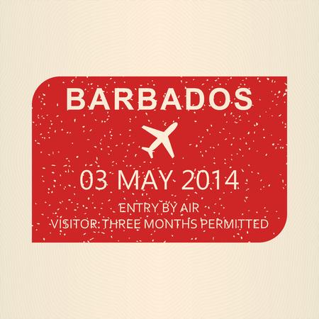 Barbados visa stamp. Travel by plane visa or immigration stamp. Vector illustration. 向量圖像