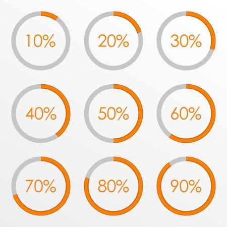 Percentage diagram set. 10 20 30 40 50 60 70 80 90 percent pie chart. Business infographics template. Vector illustration. Illustration