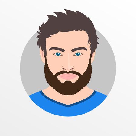 Männliches Avatar-Symbol oder Porträt. Hübsches Gesicht des jungen Mannes mit Bart. Vektor-Illustration. Vektorgrafik