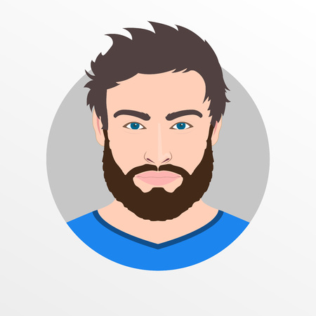 Male avatar icon or portrait. Handsome young man face with beard. Vector illustration.