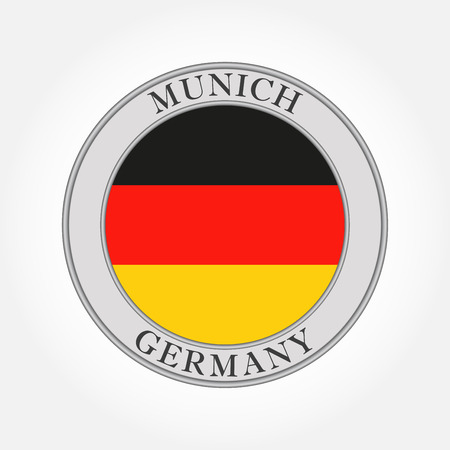 German flag round icon or button. Germany and Munich circle badge. Vector illustration.  イラスト・ベクター素材