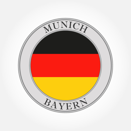 German flag round icon or button. Germany, Bavaria or Bayern and Munich circle badge. Vector illustration.