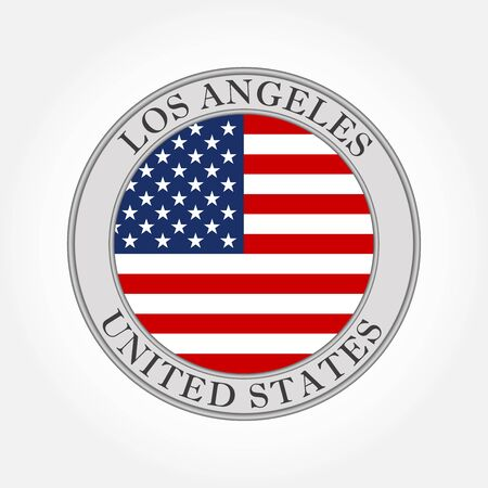 Flag of USA round icon or badge. Los Angeles city and United States circle button. American national symbol. Vector illustration.
