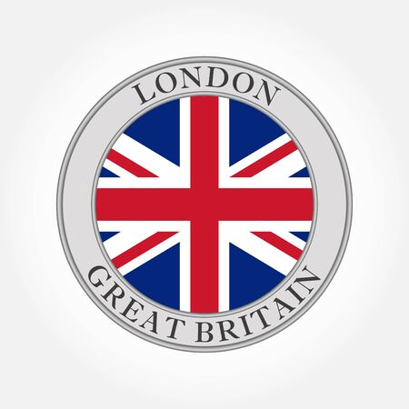 UK flag round icon or badge. London circle button. United Kingdom and Great Britain national symbol. Vector illustration.