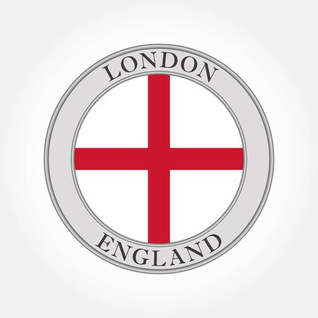 Flag of England round icon or badge. London circle button. English national symbol. Vector illustration.