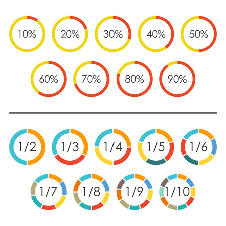 Circle chart set with percentage and pie chart set with 2,3,4,5,6,7,8,9,10 sections, parts or segments. Vector illustration.