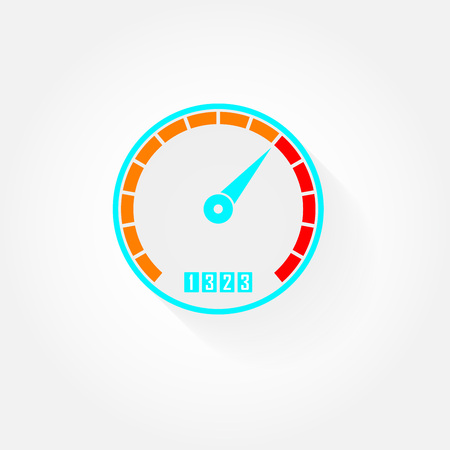 Speedometer flat icon with arrow. Gauge or meter sign with shadow. Vector illustration. Illustration