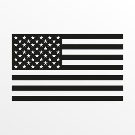Icône de drapeau américain. Symbole national noir et blanc des États-Unis d'Amérique. Illustration vectorielle. Vecteurs