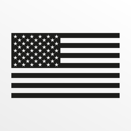 USA flag icon. Black and white United States of America national symbol. Vector illustration. 免版税图像 - 121858020