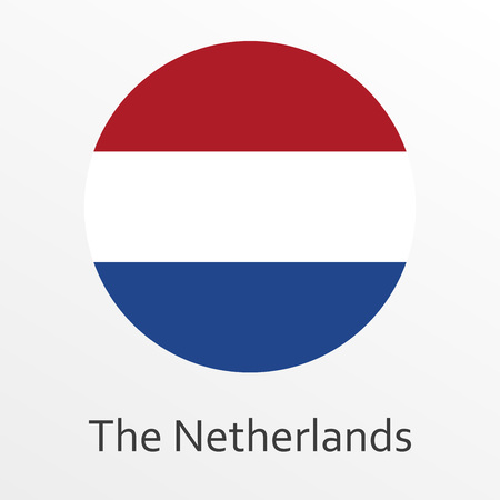 Flag of Holland round icon or badge. The Netherlands circle button. Dutch national symbol. Vector illustration
