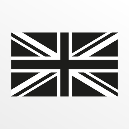 British flag black and white icon. United Kingdom and Great Britain national symbol. Vector illustration 免版税图像 - 134128185