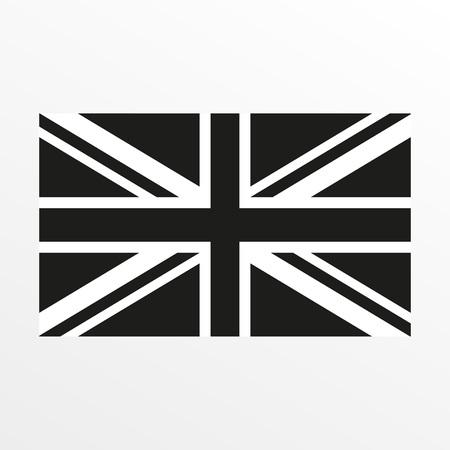 Icona in bianco e nero della bandiera britannica. Simbolo nazionale del Regno Unito e della Gran Bretagna. Illustrazione vettoriale Vettoriali
