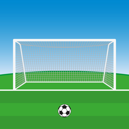 Soccer goal with football ball. Vector illustration