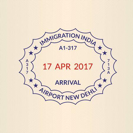 Passport stamp immigration seal. India, New Delhi airport stamp. Vector illustration 일러스트