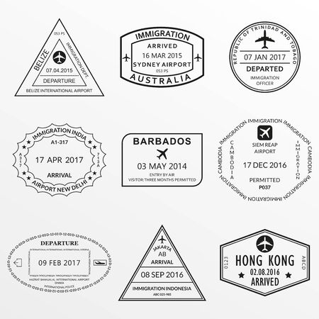 Passport stamp set. International Airport  and custom stamps. Vector illustration