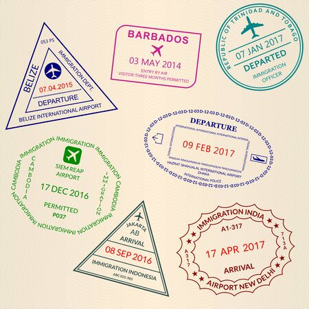 Passport stamp set. International Airport and custom stamps. Vector illustration
