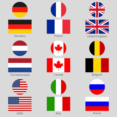 Flags icon set. National symbol of USA, UK, Holland, the Netherlands, Germany, Italy, Canada, France, Russia and Belgium. Vector illustration