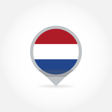 Flag of Holland round in shape of map pointer or marker. The Netherlands, Dutch national symbol icon. Vector illustration