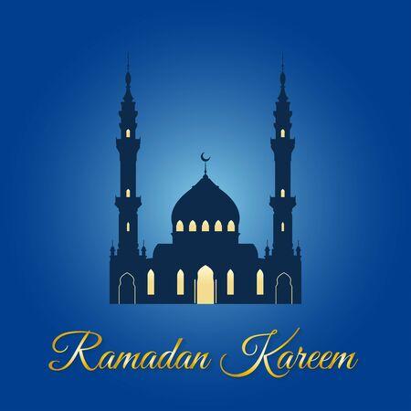 Ramadan Kareem greeting with Muslim mosque. Islamic and Arabic celebration design template. Vector illustration.