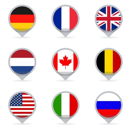 Flags set in shape of map pointers or markers. Flags of the different countries of the world: USA, UK, Holland, Germany, Italy, Canada, France, Russia and Belgium. Vector illustration