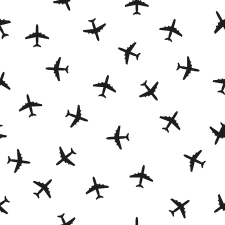 Plane seamless pattern isolated on white background. Background with airplane icons. Vector illustration