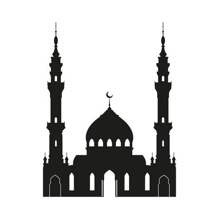 Muslim mosque icon or silhouette isolated on white background. Islamic and Arabic architecture template. Design element for Ramadan greeting card. Vector illustration.