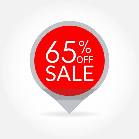 Sale and discount pointer or sticker. 65 percent price off tag icon. Vector illustration.